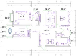郑州农业厅家属院三室两厅120平装修设计案例效果图——新中式风格户型图,120平,10.5万,中式,三居,