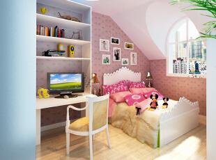 设计说明:儿童房根据孩子活泼好动的习性,整体色调看上去简单明快,让人不禁产生孩童般的愉悦心情。另外,综合实用性考虑设计了收纳型书桌,给孩子一个更加自由的学习活动空间。,80平,50000万,田园,两居,