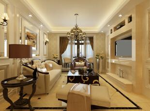 设计亮点:本案色调定位为米白色的暖色调,整体设计定位为简欧风格,运用软包的柔暖奢华、装饰玻璃的时尚镜像以及壁纸的饱满层次感打造出一个舒适温暖的家居空间。,139平,15万,欧式,三居,