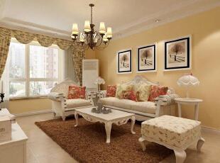 客厅 [盛世御城二期]B2户型标准层126.71㎡三室简欧风格装修设计效果解析,126平,4万,欧式,三居,