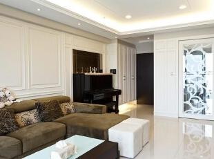 ,125平,14万,美式,三居,客厅,白色,
