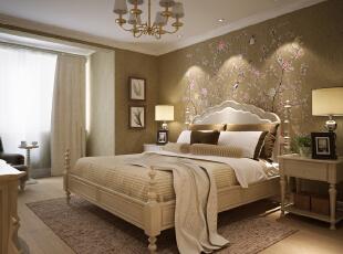 阳光充沛的卧室,暖色系的吊灯,古典欧式家居以及奢华的配饰,使整个卧室感觉舒适而温馨,112平,132500万,现代,三居,简约,卧室,原木色,