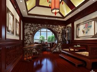 茶室的别墅装修风格则是中式风格。中国的茶道历史源远流长,中式的茶室也布置得别有韵味。棕色的木质家具带着历史的沉淀气息扑面而来,墙壁上镂空的花纹又增添了几许古色古香。,700平,90万,混搭,别墅,茶室,