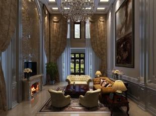 客厅采用欧式装修风格,电视下面的壁炉给人以温暖的感觉。柔软的淡黄色皮质沙发也让人感觉温暖,整个客厅充满了温馨。,700平,90万,混搭,别墅,客厅,