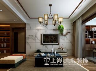 郑州正商新蓝钻120平三室两厅新中式风格装修效果图--电视墙,120平,10万,中式,三居,