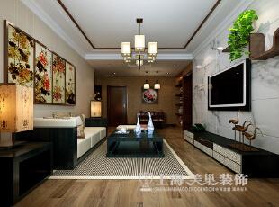 正商新蓝钻120平3室2厅新中式风格装修效果图--客餐厅,120平,10万,中式,三居,