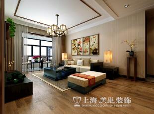 正商新蓝钻120平三室两厅新中式风格装修效果图--客厅,120平,10万,中式,三居,
