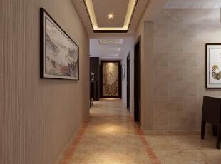 ,141平,25万,中式,三居,走廊,原木色,