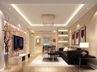 简洁 时尚的家居主路线——客厅,100平,4万,现代,两居,