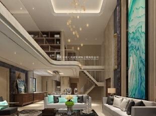 中森林语美墅别墅样板间装修设计效果图 客厅,220平,10万,混搭,别墅,客厅,