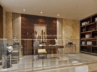 中森林语美墅别墅样板间装修设计效果图 书房,220平,10万,混搭,别墅,书房,