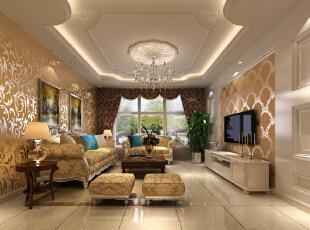 主观(风水)大气的欧式风格——客厅,100平,5万,欧式,两居,客厅,