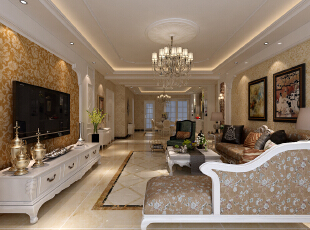 ,168平,30万,欧式,四居,客厅,白色,