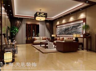 升龙国际160平三室两厅新中式风格装修方案——客厅装修效果图,160平,16万,中式,三居,客厅,