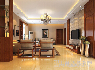 郑州金盾花园三室两厅140平方新中式风格装修——客厅布局效果图,140平,9万,中式,三居,