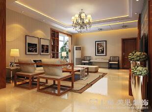 郑州金盾花园三室两厅140平方新中式风格装修——客厅全景效果图,140平,9万,中式,三居,
