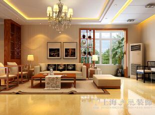 郑州金盾花园三室两厅140平方新中式风格装修——沙发布局,140平,9万,中式,三居,