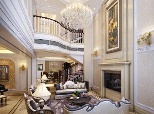 ,350平,200万,别墅,欧式,客厅,白色,
