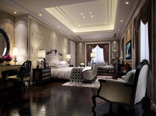,800平,600万,新古典,别墅,卧室,黑白,