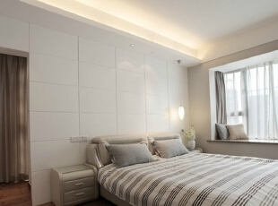 卧室隐形门,138平,7万,简约,三居,卧室,现代,白色,