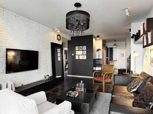 ,60平,6万,现代,两居,客厅,黑白,