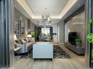 ,140平,7万,三居,现代,客厅,白色,