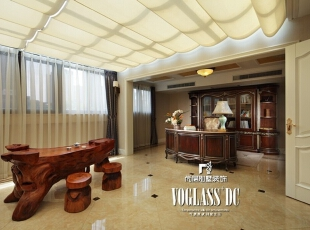 茶室+书房,使整个空间更加丰富,厚而不重,透着一抹自然的写意。,274平,80万,欧式,别墅,