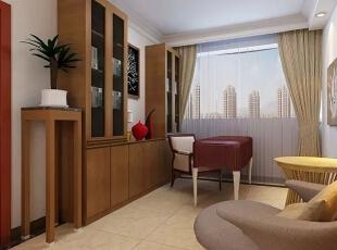 信达西山银杏97平方新中式装修效果图,97平,6.5万,两居,书房,中式,原木色,