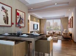 信达西山银杏97平方新中式装修效果图,97平,6.5万,两居,客厅,中式,原木色,