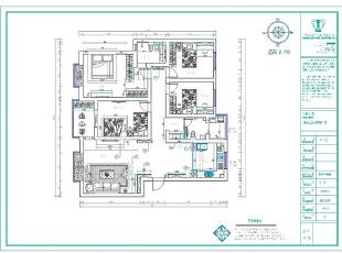 中信嘉苑160平四室两厅简欧风格样板间装修户型图,160平,13万,欧式,四居,