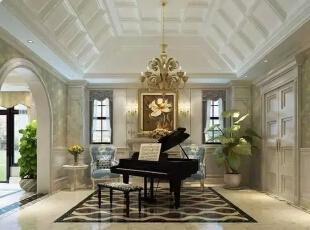 琴房软装搭配细节和硬装修设计过程中,更重视法式元素的利用,您看这白色吊顶,花卉挂画,绿植,配上黑色钢琴,靠椅钢琴,及旁边圆形拱门,每一个节点都使空间流溢出浪漫的法式味道。,300平,40万,现代,一居,