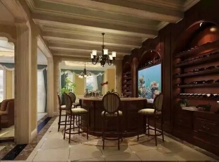 餐厅的家居采用棕色调,吊顶与装饰画用亮色调调亮。总体是欧式复古格调,300平,40万,现代,一居,