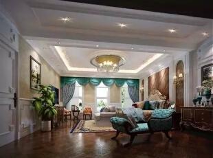 主卧室设计风格与客厅区域设计几近相同, 摒弃古典过多的肌理与装饰, 贯入新的设计灵魂与尊贵姿容,更淋漓尽致地表达低调的涵养。,300平,40万,现代,一居,