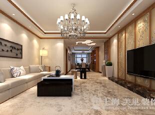 郑州豫武花园四室两厅新中式客厅装修效果图展示,200平,25万,中式,四居,客厅,