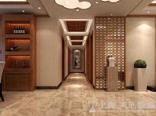 豫武花园四室两厅新中式门厅走廊装修效果图,200平,25万,中式,四居,