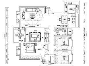 豫武花园1号楼四室两厅新中式平面布局图,200平,25万,中式,四居,
