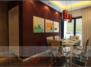 现代欧式风格通常采用深色的橡木或枫木家具和软装饰来营造整体效果。布艺沙发组合有着丝绒的质感以及流畅的木质曲线,将传统欧式家居的奢华与现代家居的实用性完美地结合。还有精美的油画,制作精良的雕塑工艺品,都是点染现代欧式风格不可缺少的元素。现代欧式空间有的不只是豪华、大气,更多的是惬意和浪漫。通过完美的曲线,精益求精的细节处理,带给家人不尽的幽雅清新,传统欧式木质家具色泽庄重,纹理精细美观,现代欧式家具简化了其繁复设计,其整个的框架更是显露出一番别样的古典韵味。,130平,65万,现代,三居,餐厅,红色,
