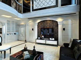 简欧风格就是简化了的欧式装修风格。也是目前住宅别墅装修最流行的风格。简欧风格更多的表现为实用性和多元化。简欧家具包括床、电视柜、书柜、衣柜、橱柜等等都与众不同,营造出日常居家不同的感觉。,320平,7万,欧式,复式,黑白,客厅,