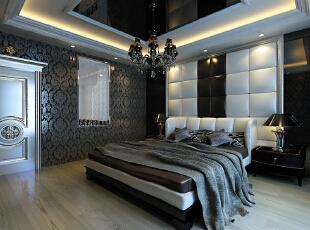 简欧风格就是简化了的欧式装修风格。也是目前住宅别墅装修最流行的风格。简欧风格更多的表现为实用性和多元化。简欧家具包括床、电视柜、书柜、衣柜、橱柜等等都与众不同,营造出日常居家不同的感觉。,320平,7万,欧式,复式,卧室,