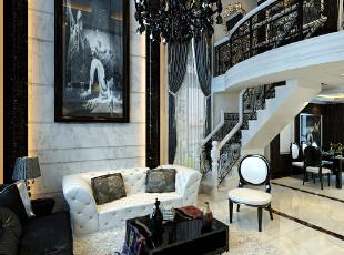 简欧风格就是简化了的欧式装修风格。也是目前住宅别墅装修最流行的风格。简欧风格更多的表现为实用性和多元化。简欧家具包括床、电视柜、书柜、衣柜、橱柜等等都与众不同,营造出日常居家不同的感觉。,320平,7万,欧式,复式,客厅,黑白,