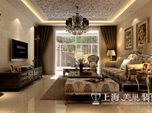 【一】客厅  效果图解析:简欧风格的客厅,不管是从家具和装饰品的选择上,还是背景墙的设计都是无比的精致,吊顶的设计使空间更加的华丽。,89平,9万,欧式,两居,客厅,