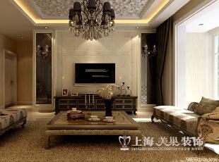 【二】电视背景墙  效果图解析:简欧风格的电视背景墙,运用石材的效果,使整个客厅的感觉大气奢华。,89平,9万,欧式,两居,客厅,
