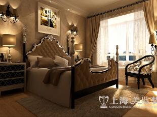 【五】卧室  效果图解析: 豪华的大床,华丽的灯饰,欧式风格的优雅和大气扑面而来。,89平,9万,欧式,两居,卧室,