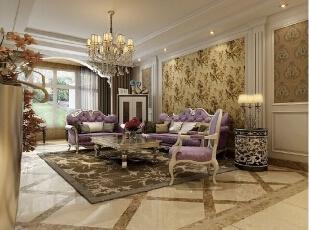 客厅 的地面用 砖做成这种 错乱的感觉 显得 空间 大气,276平,30万,欧式,四居,新源燕府装修,