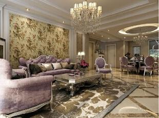 客厅 沙发墙 用的壁纸 颜色 和 整个屋子的颜色 搭配而定,276平,30万,欧式,四居,新源燕府商品房,