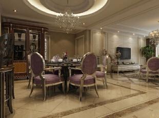 餐厅的餐桌和餐椅采用实木的 在这样的环境下 放着浪漫抒情的音乐 和自己的家人进餐 会是什么样的 感觉,276平,30万,欧式,四居,新源燕府276平米装修,
