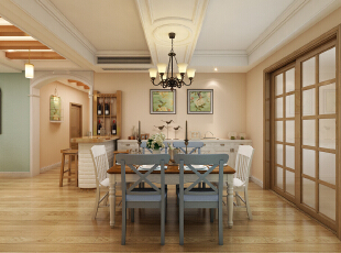 乐豪斯 装饰 小落 餐厅在美国是个很重要的地方,有时候甚至可以看见一个家中有几个餐厅的出现,透出那种家庭融洽的感觉。这个休闲美式风格的餐厅设计,没有传统美式风格的复古,而是有更多的色彩,无论是软装饰品、家具,还是墙面的墙漆,都让空间更加的活泼……冷餐区的设计增大了厨房的使用空间,中西厨的分开,让客户瞬间提升生活档次。小酒柜与小吧台的设计,让生活更添了几分浪漫与情调,180平,22万,美式,三居,