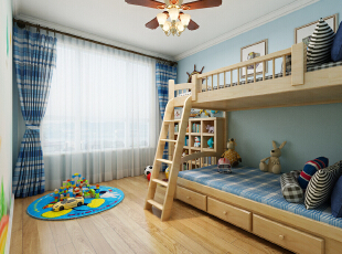 儿童房主要是孩子的卧室、起居室和游戏空间,是孩子的自由天地。尤其是小孩子比较好动,所以一定要给孩子留着足够的玩耍空间,并且因为孩子玩具比较多,所以墙上收纳柜的运用是非常实用的。另外吊扇灯的运用,让孩子可以少吹空调,对孩子的健康成长更有好处。,180平,22万,美式,三居,休闲美式风格,案例,