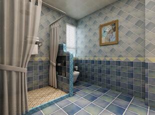 主卫设计成了干湿分离,浴帘与挡水台的结合更好的保护了卫生间的卫生,淋浴区与马桶之间的隔墙,不仅美观,而且实用,掏空的隔墙还可以放一些洗漱用品,方便了主人的生活。,180平,22万,美式,三居,东胜紫御府二期,