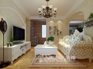 郑州鑫苑景园89平两室两厅田园风格装修效果图--客厅,89平,8万,田园,两居,